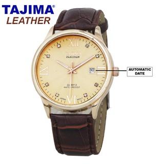 Jam Tangan Pria Analog Date / Jam Tangan Kulit Pria / TAJIMA 3096 Leather Original TAJIMA