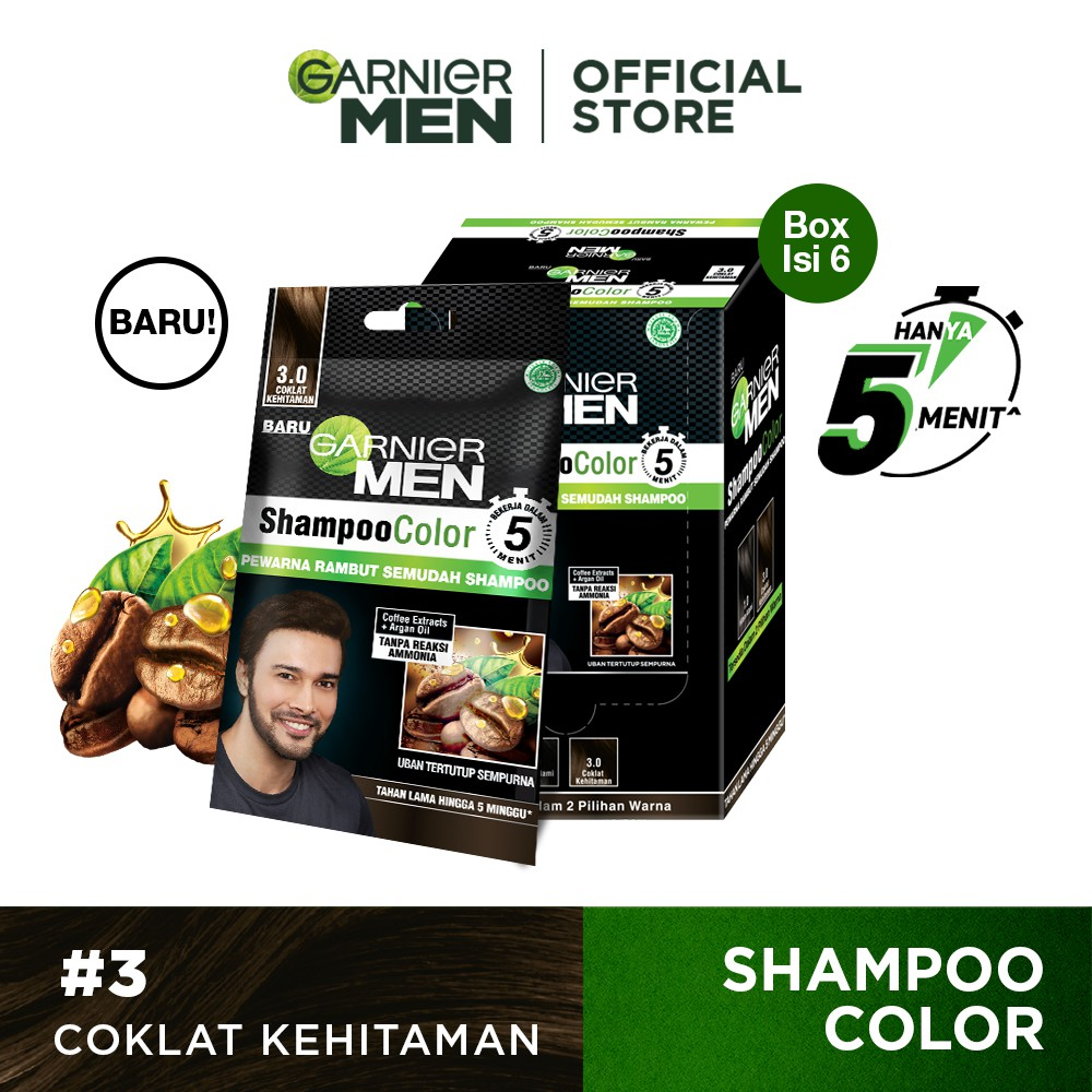 Garnier Men Shampoo Color (Pewarna Rambut Pria Semudah Shampoo)-Dark Brown Pack of 6