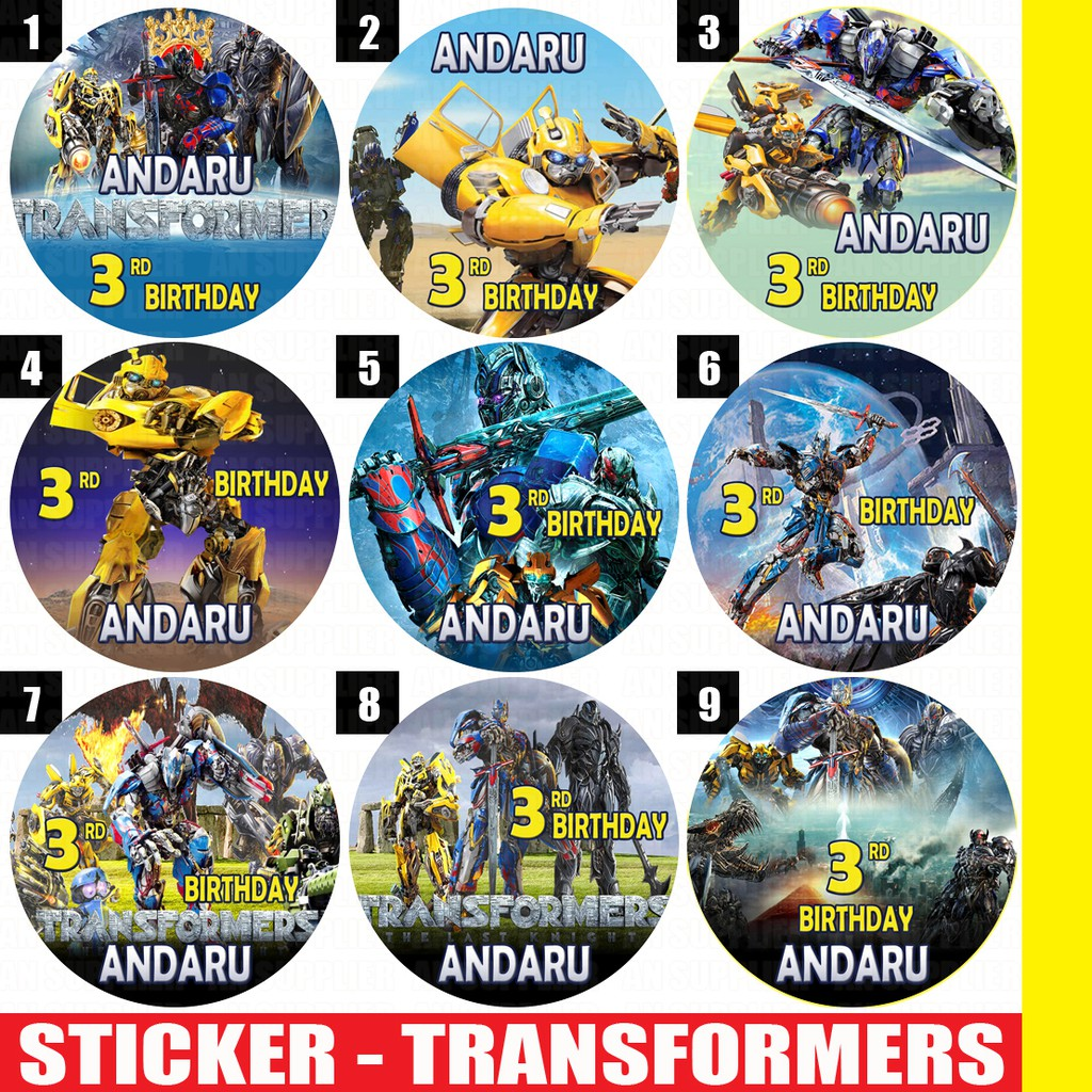 60 Stiker Transformers Label Bag Kue Souvenir Ultah Ulang Tahun