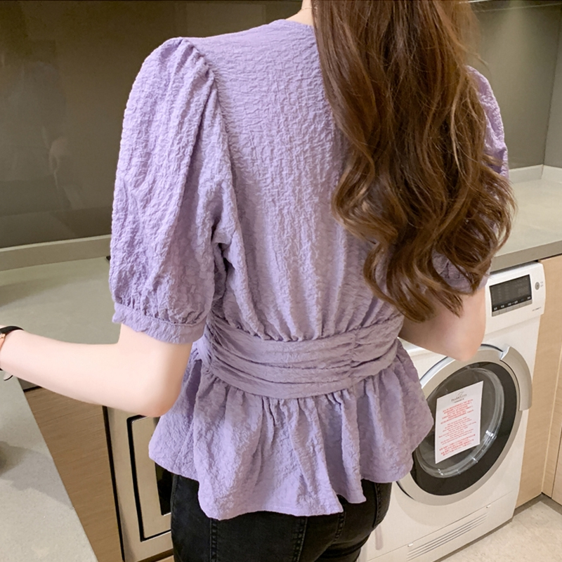 2020 Cardigan Button Ladies Tops Blusas Summer V Neck Short Sleeve Shirt Women Office Plus Size White Purple Blouse Women 10047 Shopee Indonesia