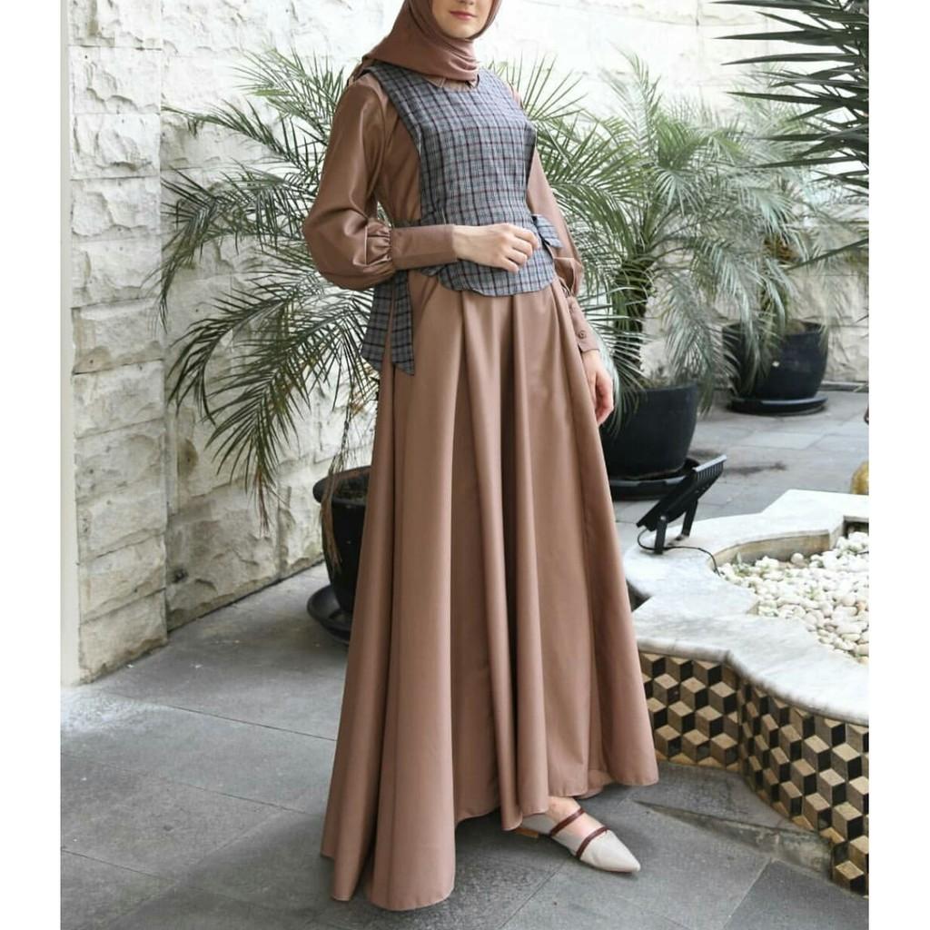 GITA DRESS Bahan Mosscrepe Mix Katun Kotak Model Baju Gamis Wanita ASDF  Muslimah Terbaru Kekinian