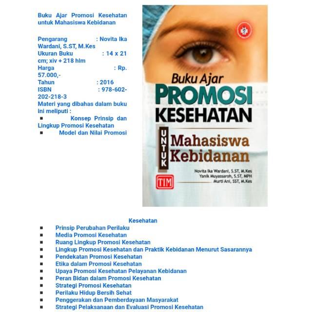 Buku Tim Ori Buku Ajar Promosi Kesehatan Untuk Mahasiswa Kebidanan Shopee Indonesia