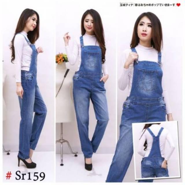 Baju Overall Jeans Levis Kodok Polos Lentur Melar Pria Wanita Big Size Jumbo S M 2XL 3XL 4XL 5XL 6XL