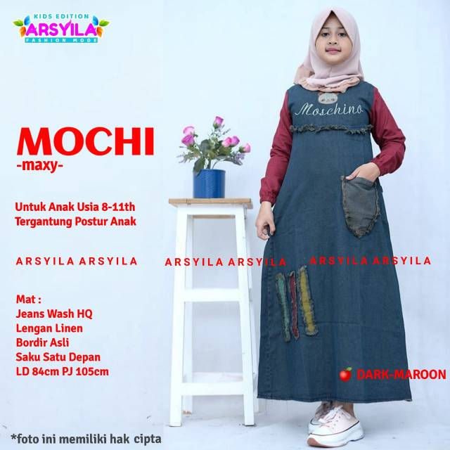 Mochi/ Arisa Baju Dress Anak Jeans Ori Arsyila