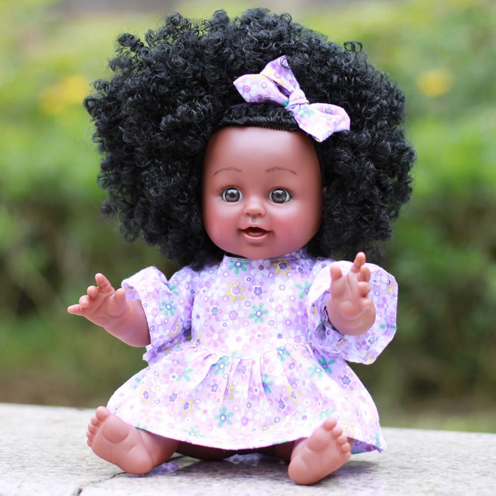 Bonekanya Boneka Bayi Perempuan Dengan Rambut Keriting Warna Hitam