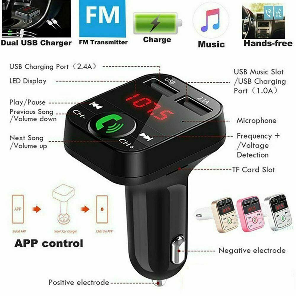 Wireless Bluetooth FM Transmitter Modulator Car Kit MP3 Player USB LCD Charger