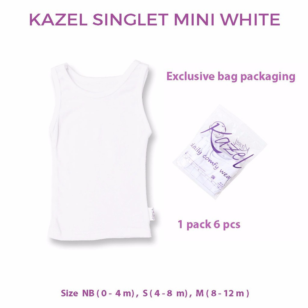 PNB43 KAZEL SINGLET MINI WHITE ISI 6 PCS KAOS SINGLET BAYI | Shopee Indonesia