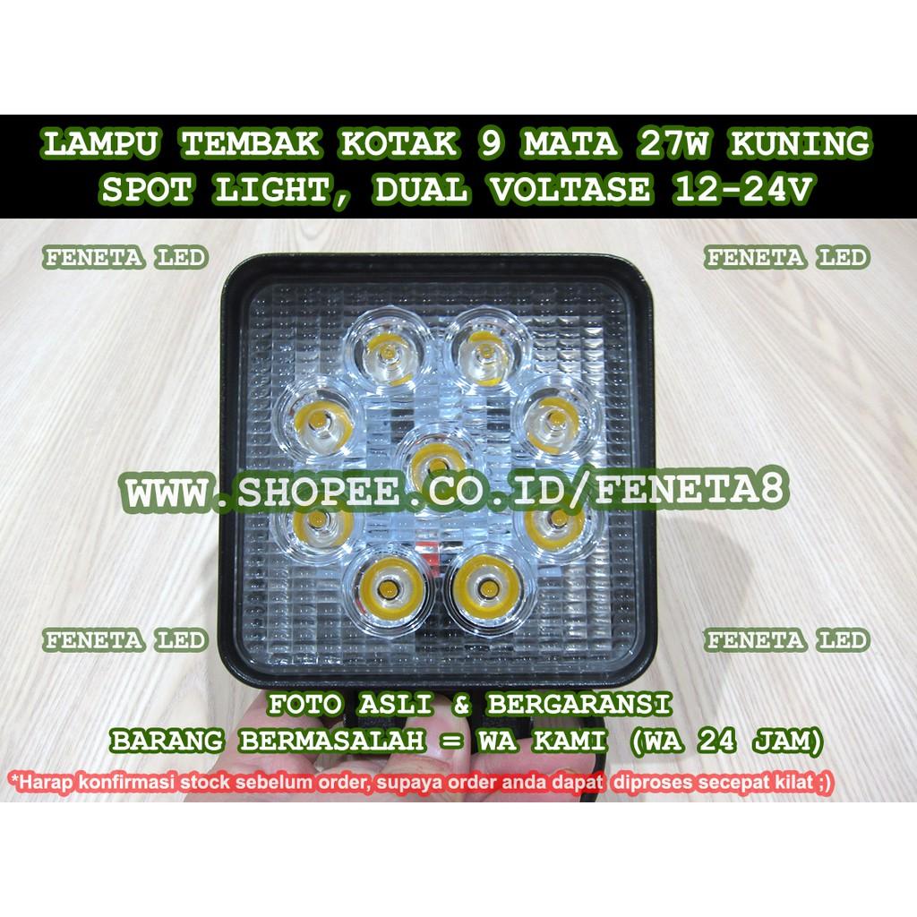 27 Watt Super Terang 12 V 24 Lampu Kerja Led 27watt Bulat Aio Sorot 27w 4x4 Untuk Mobil Jeep Truk Perahu Atv