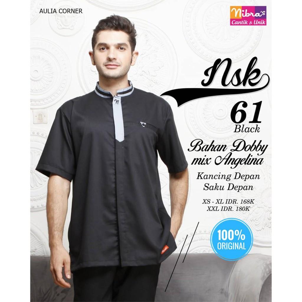 Baju Muslim Atasan Couple Koko Terbaru Nibras Nsk 61 Black Original Model Kekinian Shopee Indonesia