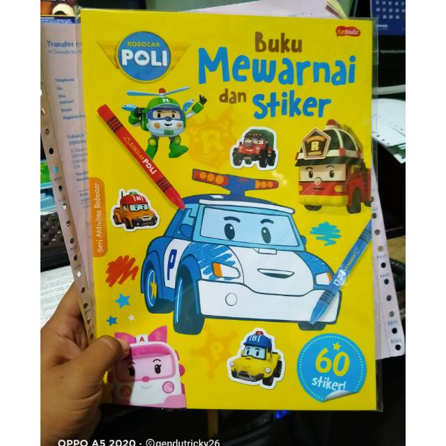 Seri Aktivitas Robocar Buku Mewarnai Dan Sticker Pili Si Mobil Polisi Shopee Indonesia