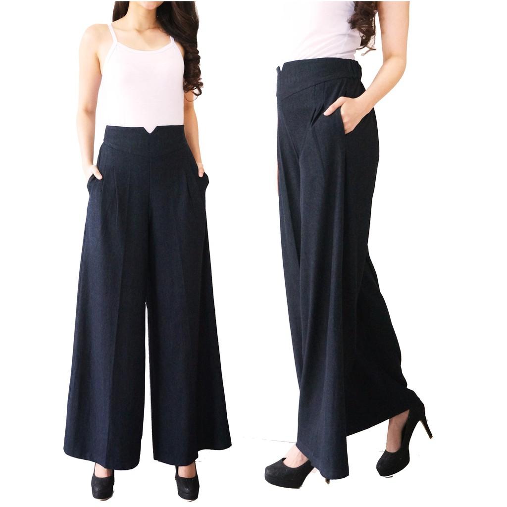 Long Cullotes Stripe List Samping Side Trouser Nagita Pants Zara Hitam Merah Bahan Scuba Celana Kulot Garis Shopee Indonesia