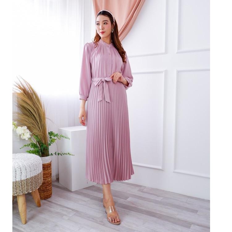 Terupdate Chamele - Vischa Long pleats dress plisket Natal / Imlek Wanita PREMIUM (bisa bumil & busu