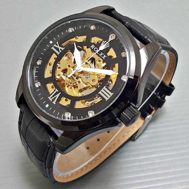 Jam Tangan Pria Rolex Automatic Mesin Tali Kulit Premium Shopee Indonesia