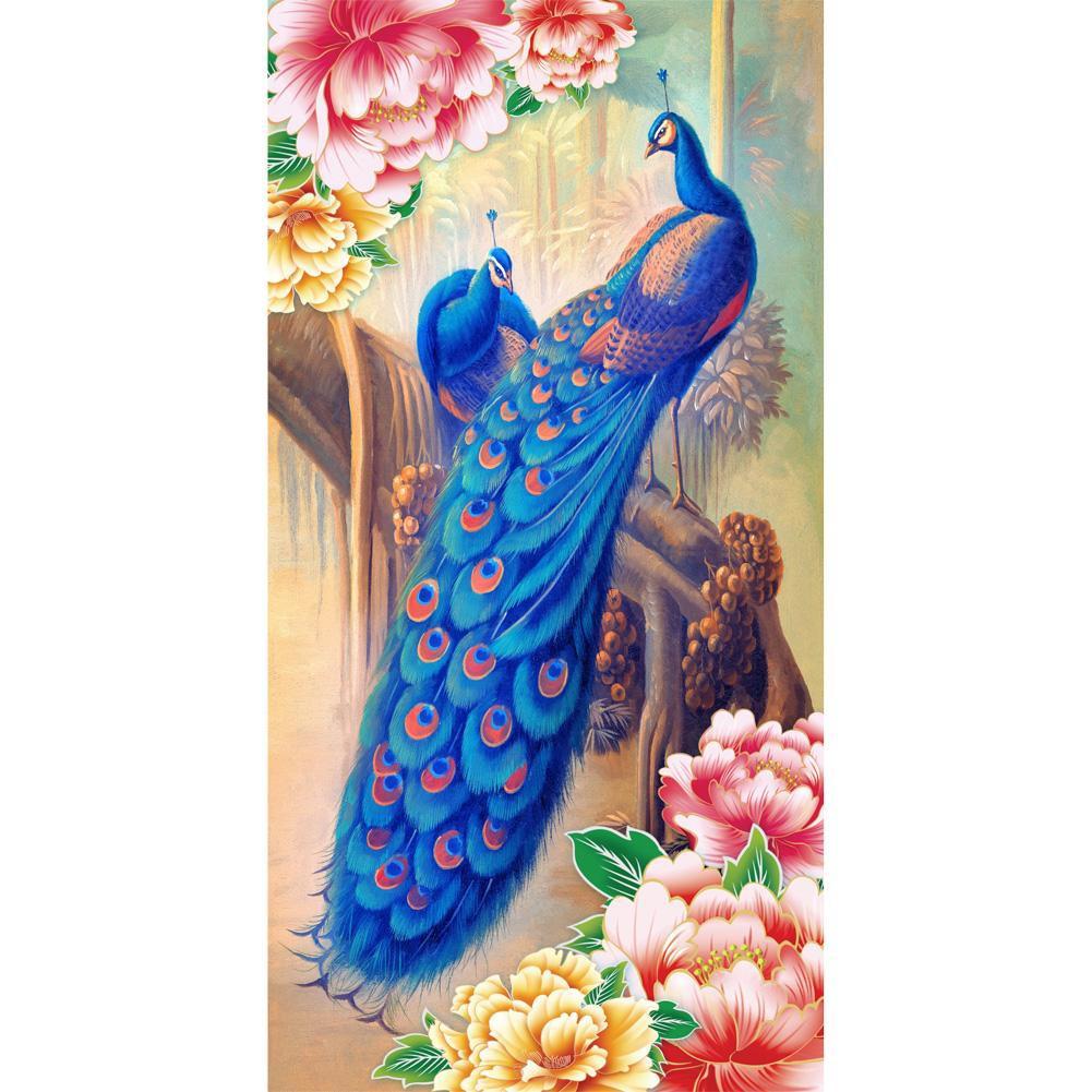 DIY Lukisan Diamond 5D Dengan Gambar Burung Merak Warna Biru Dan Hiasan Berlian Buatan