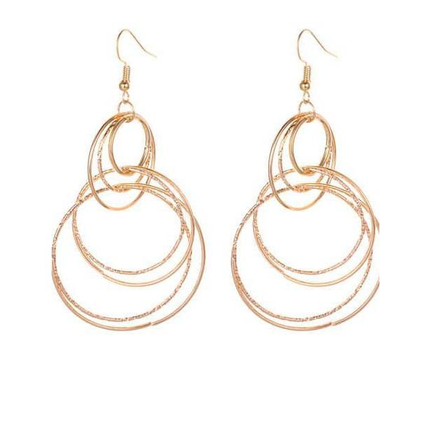 LRC Anting Tusuk Pearls&circular Ring Pendant Decorated Asymmetric Earrings | Shopee Indonesia