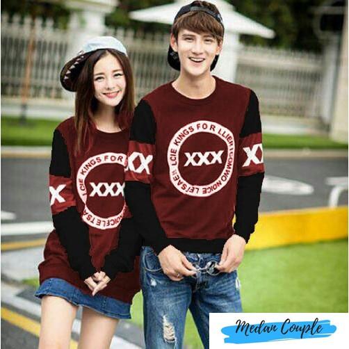 baju couple / sweater lengan panjang murah xxx hitam maroon | Shopee Indonesia