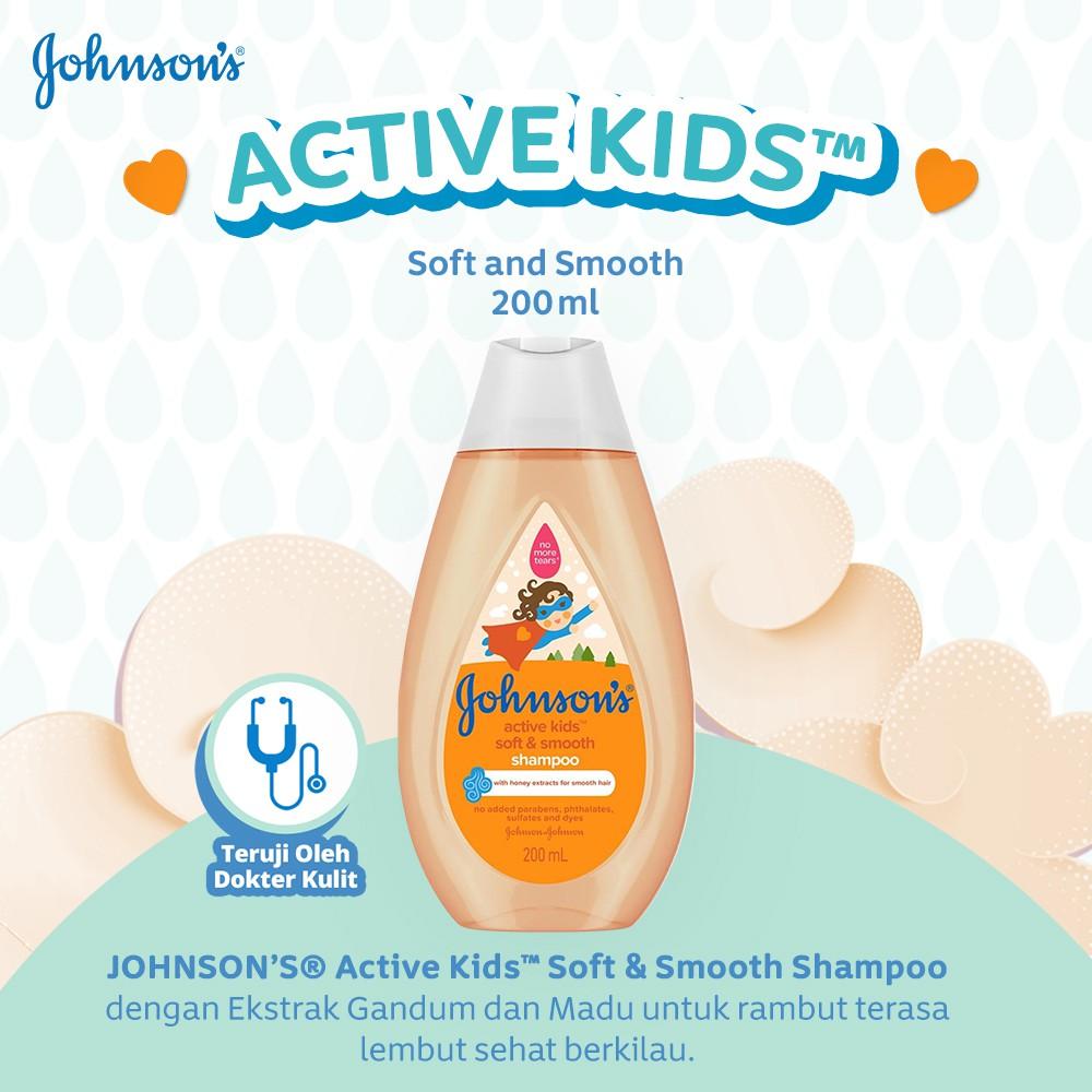 JOHNSON'S Active Kids Soft & Smooth Shampoo - Shampo Anak-anak 200ml-1