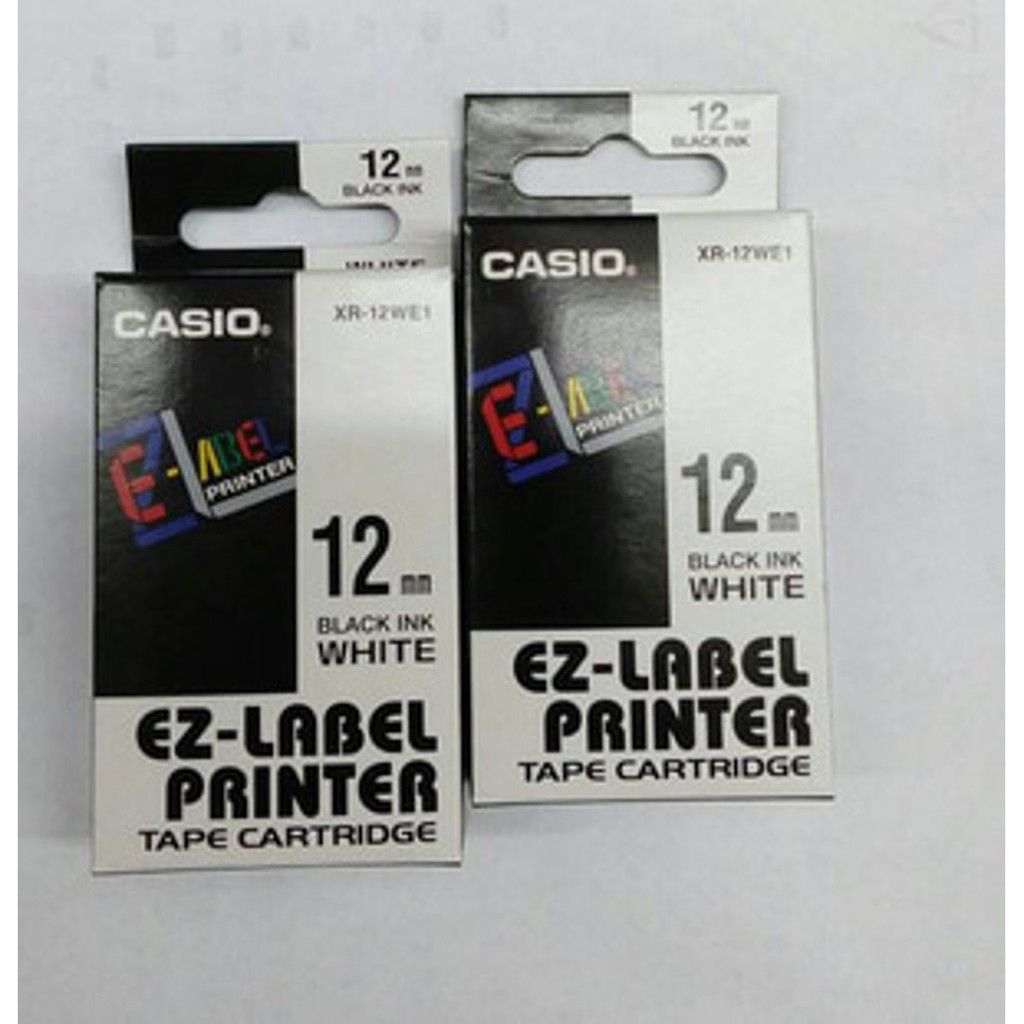 Dijual EZ Label Printer Casio 12mm Black ink white XR 12WE1 Murah | Shopee Indonesia