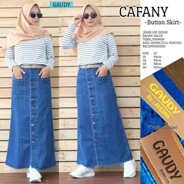 9c435bdd2f7c62 Rok Jeans Panjang Wanita Annisa Maxi Skirt Rok Kancing Depan Banyak ...
