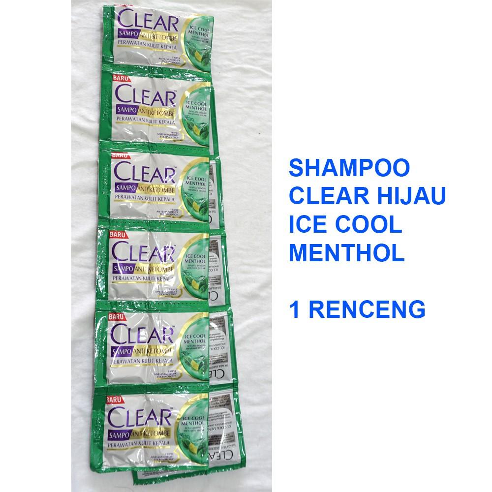 Shampoo CLEAR HIJAU ICE COOL MENTHOL 1 Renceng 2x12 Sachet @5ml-1