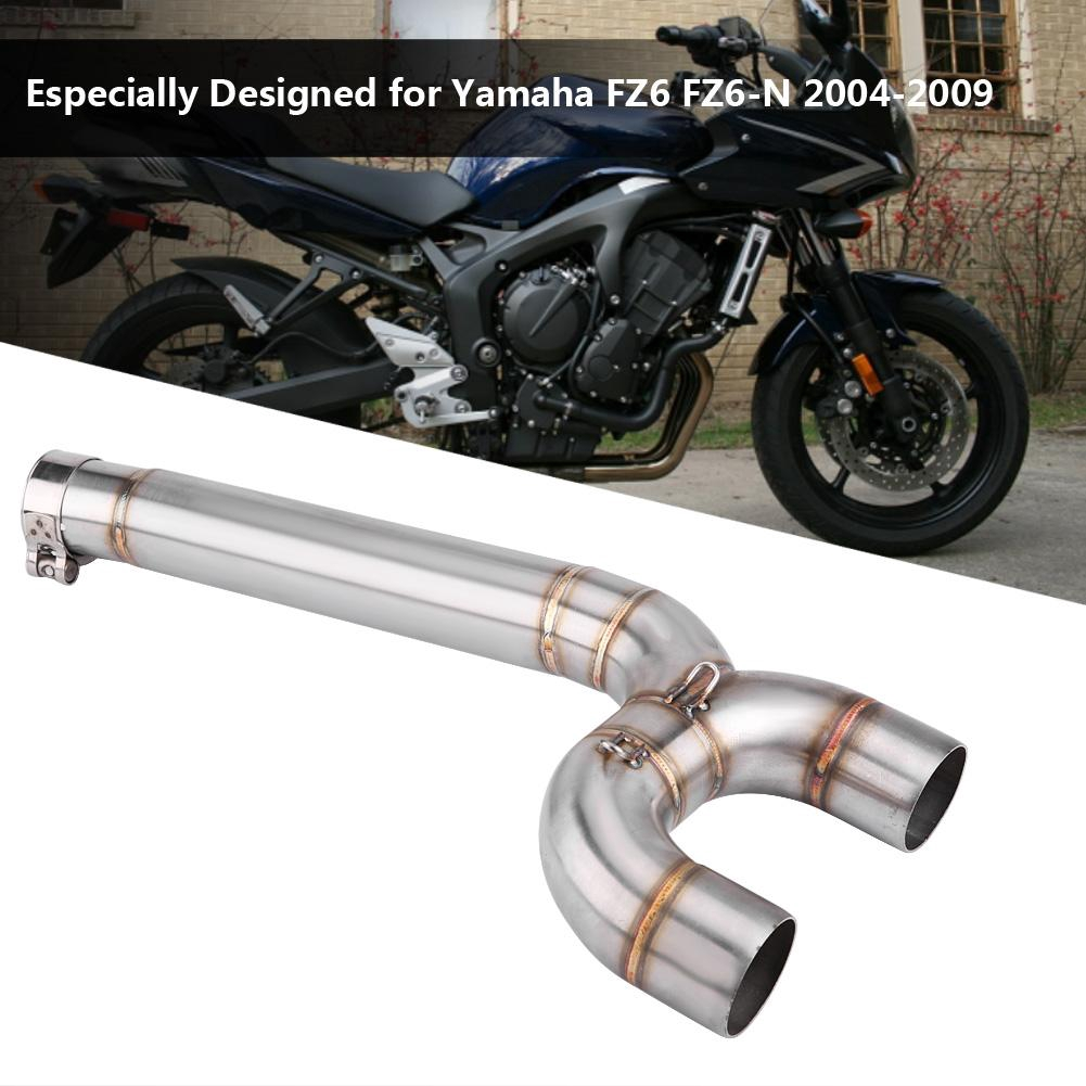 Moto Full Exhaust System Middle Pipe Link Connect Accessories For FZ6 FZ6N 04-09