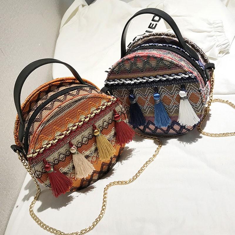 Tas Handbag / Selempang Wanita Bentuk Bulat Motif Print ...