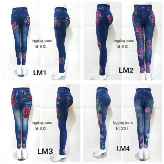 Legging Jeans Motif Bunga Tata Shopee Indonesia