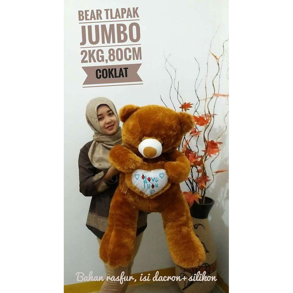 BONEKA BERUANG TEDDY BEAR TELAPAK JUMBO COKLAT CREAM BIRU TUA PINK DOGER FREE ONGKIR SHOPEE UKIR   Shopee Indonesia