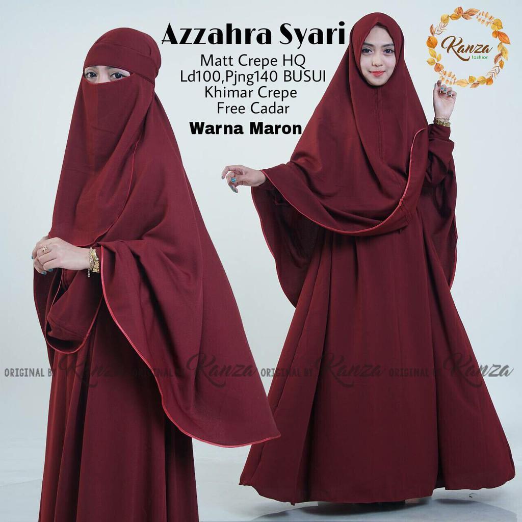 Setelan Gamis Muslimah Jilbab Cadar Azzahra Syari Ori Kanza