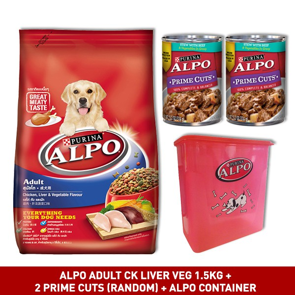 ALPO ADULT Lamb Veg 1.5kg + 2 Prime Cuts (Random) + Alpo container | Shopee Indonesia