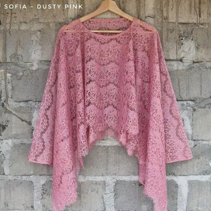 Cape Brokat Batwing Brokat Sofia Dusty Pink Atasan Kebaya Shopee Indonesia