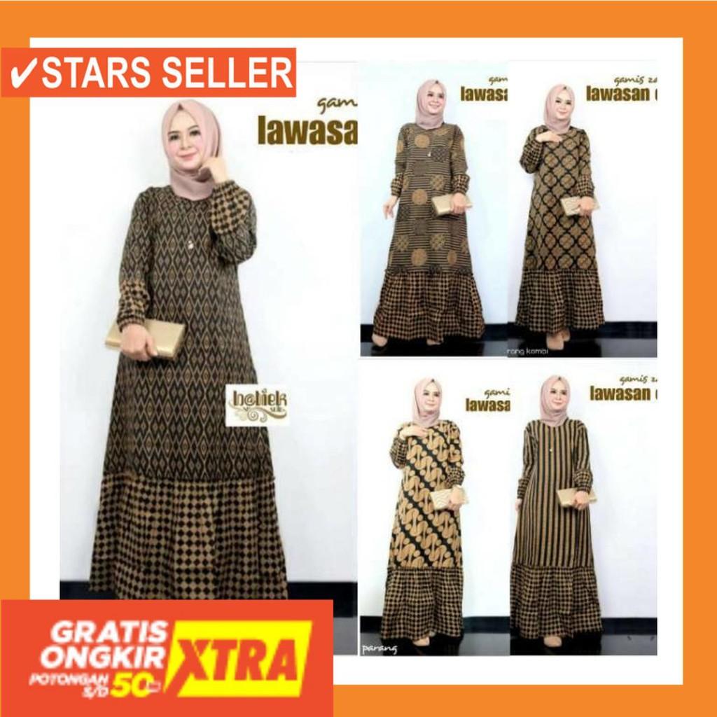 BUSANA MUSLIM TERBAIK MURAH BARU KECIL BESAR JUMBO BIG / Gamis Batik  Kombinasi Baju Muslimah