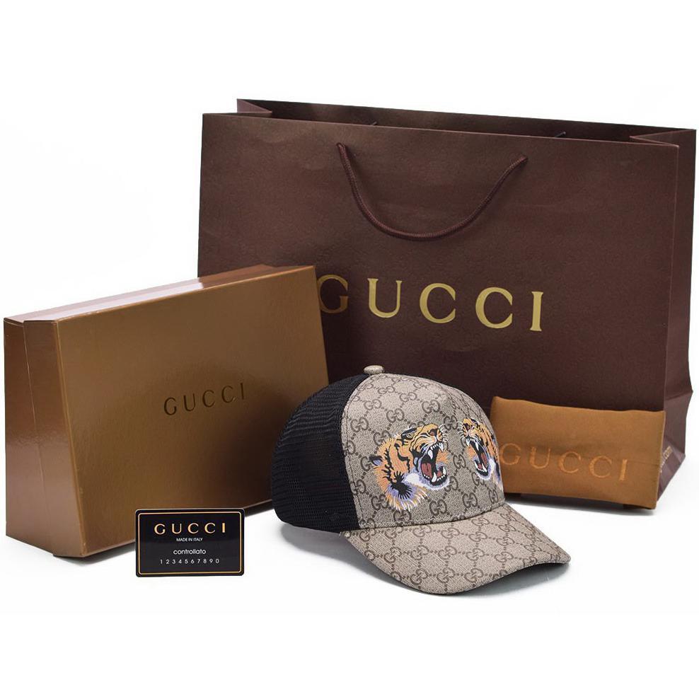 BOX LENGKAP + Topi Gucci Baseball Supreme GG Print Tiger LIST KULIT ASLI ORI  14TT0  7ad9e57828