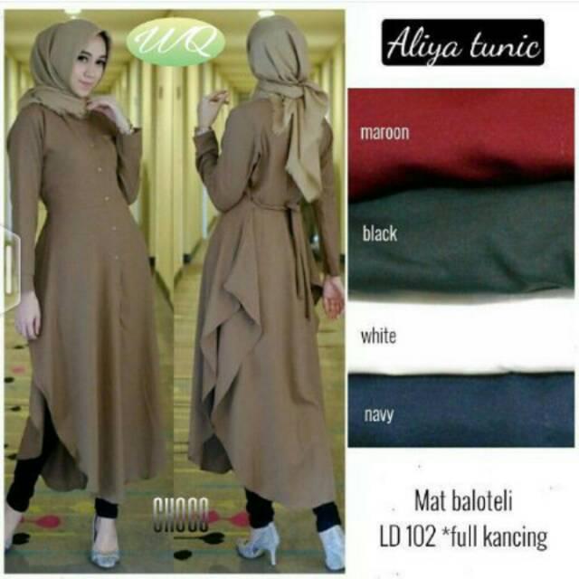 Baju Tunik Wanita Aliya Long Tunic Atasan Muslim Fit L Bahan Balotelli Terbaru | Shopee Indonesia