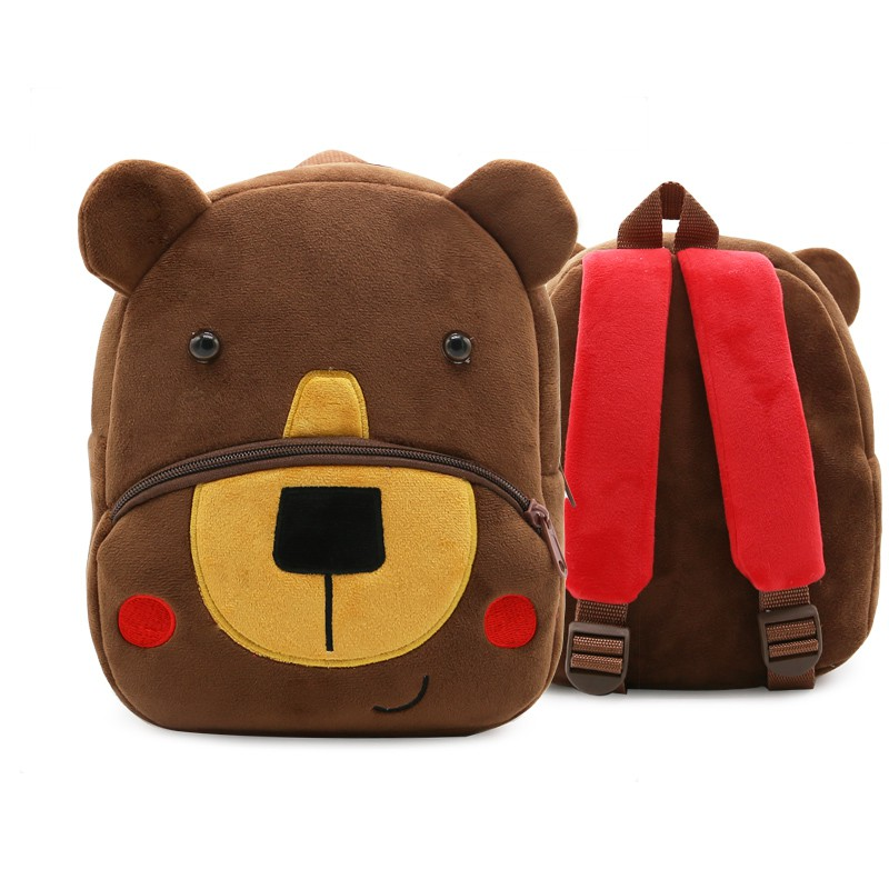 plush toy brown bear backpack bag schoolbag shoulder package kindergarten baby
