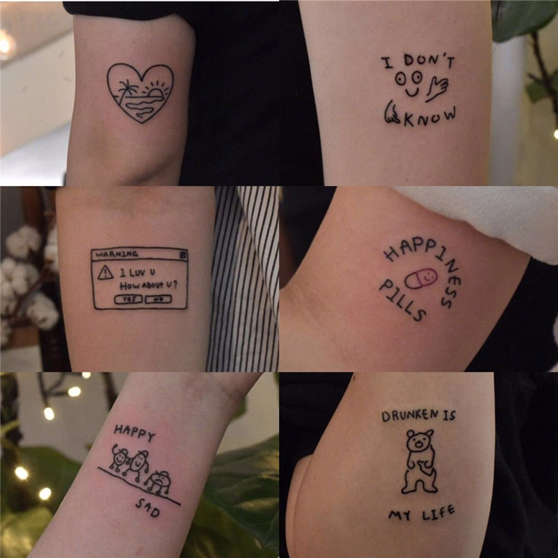 45pcs Stiker Tattoo Motif Tulisan Inggris Anti Air Untuk Pria Wanita Shopee Indonesia