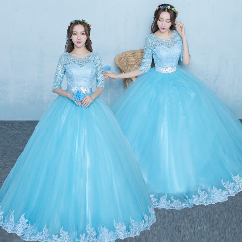 1708060 Biru Muda Lengan Panjang Gaun Pengantin Wedding Gown Dress