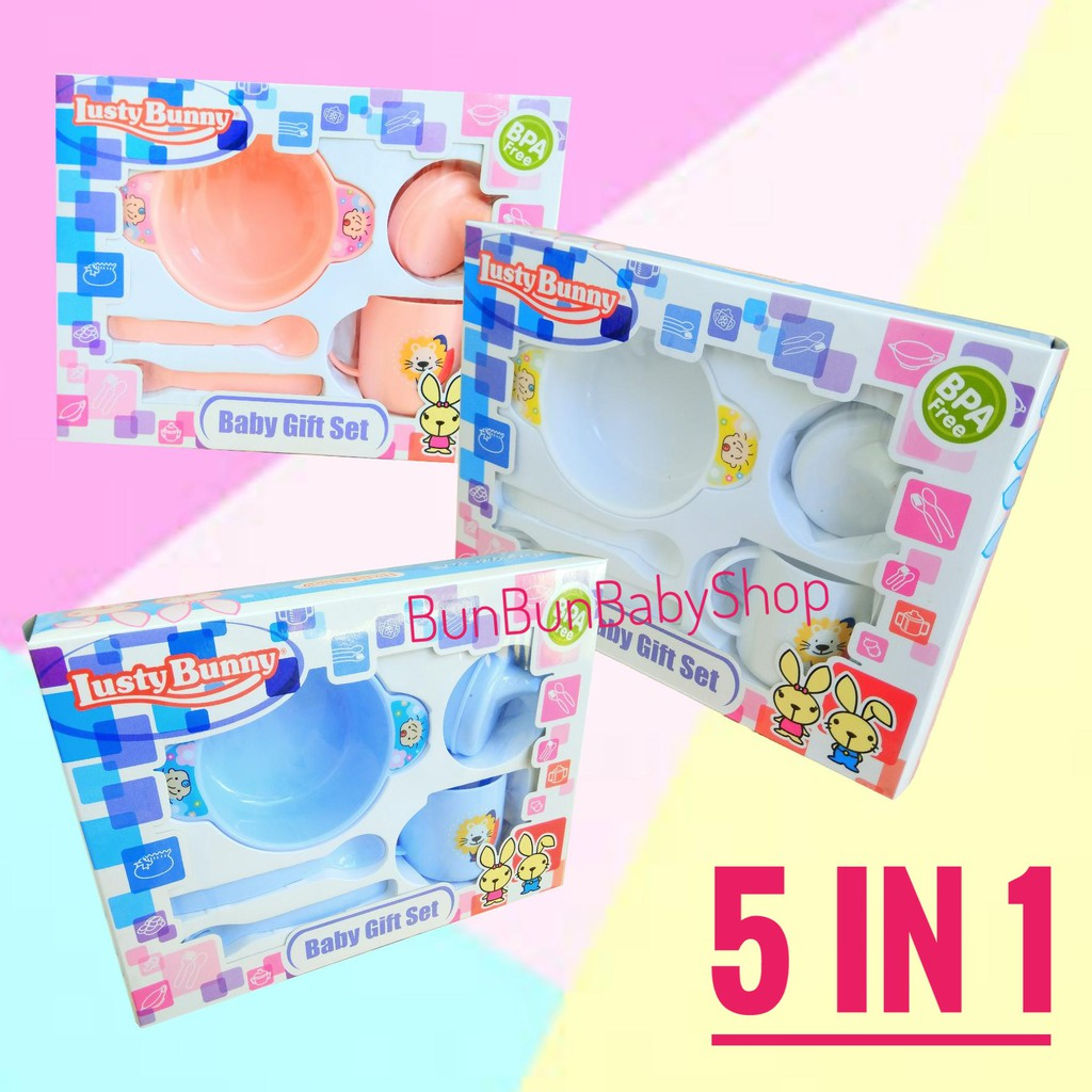 Baby Gift Set Lusty Bunny Feeding Set Bottle, Milk Container dan Cup 6in1 | Shopee Indonesia