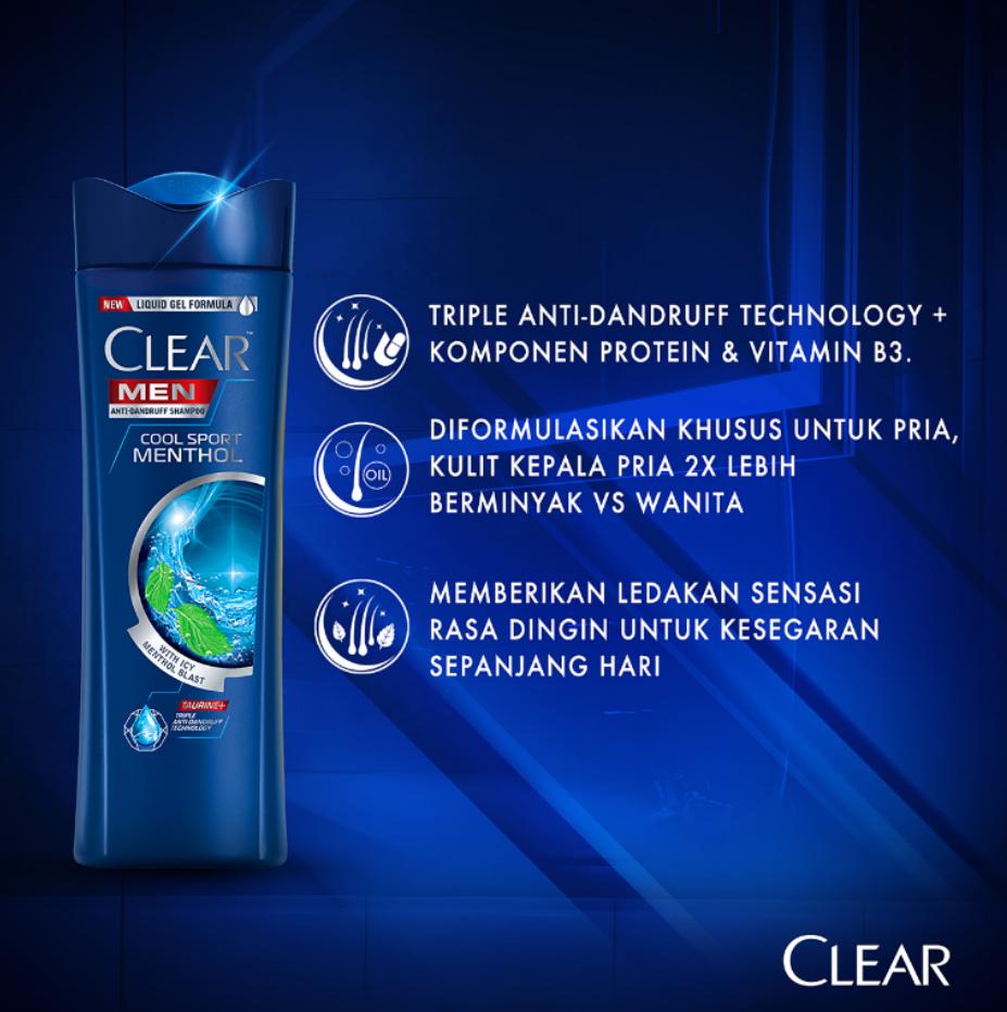 Clear Men Shampoo Cool Sport Menthol 300 Ml - Shampo Pria, Shampo Menthol-3
