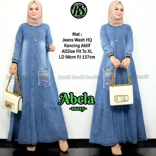 Abele Maxy Jeans Gamis Jeans Jumbo Busana Muslim Wanita Baju Muslim Wanita Gamis Muslim Shopee Indonesia