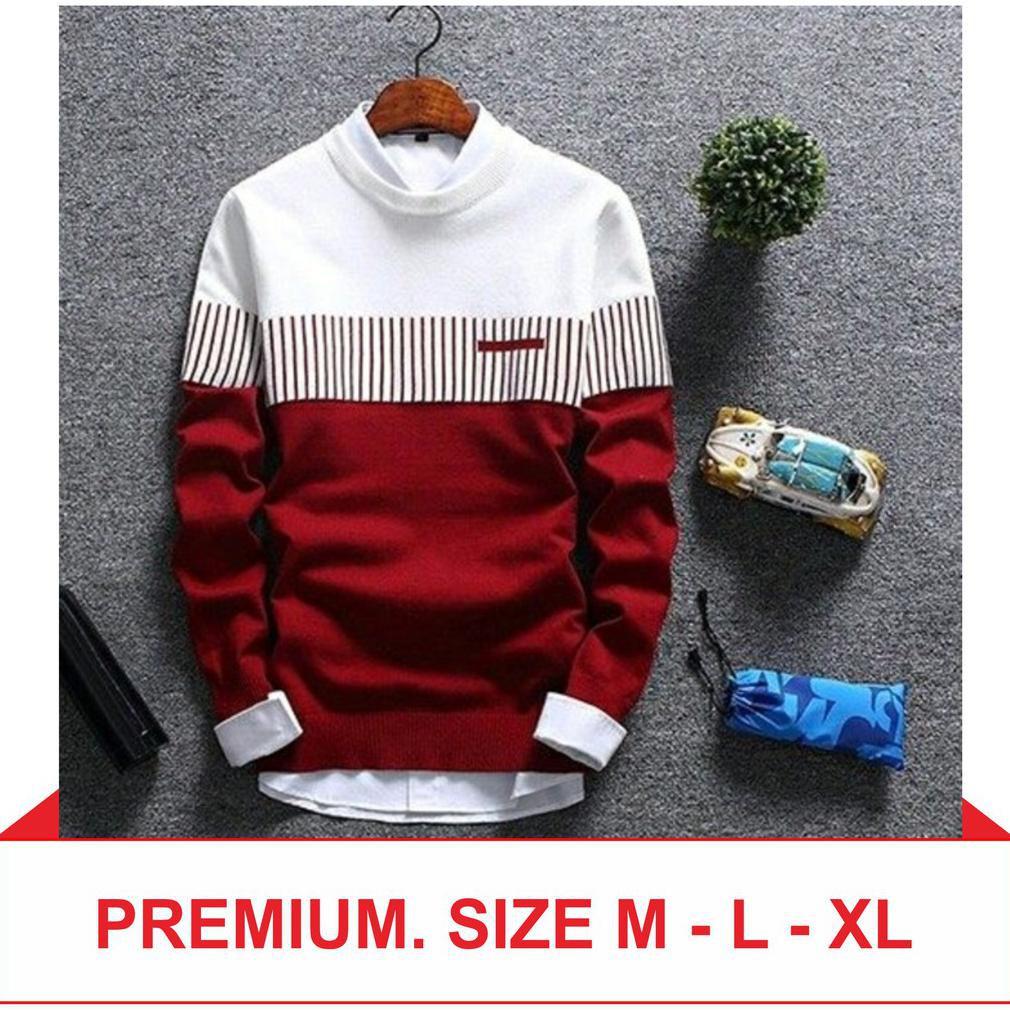 Premium M L Xl Kafie Grey Baju Rajut Pakaian Pria Sweater Korea Murah Lengan Panjang Shopee Indonesia