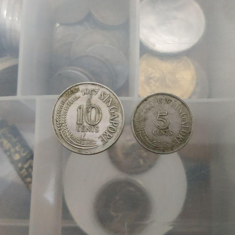 Koin Kuno 5 dan 10 cent Singapura 1967 dan 1979