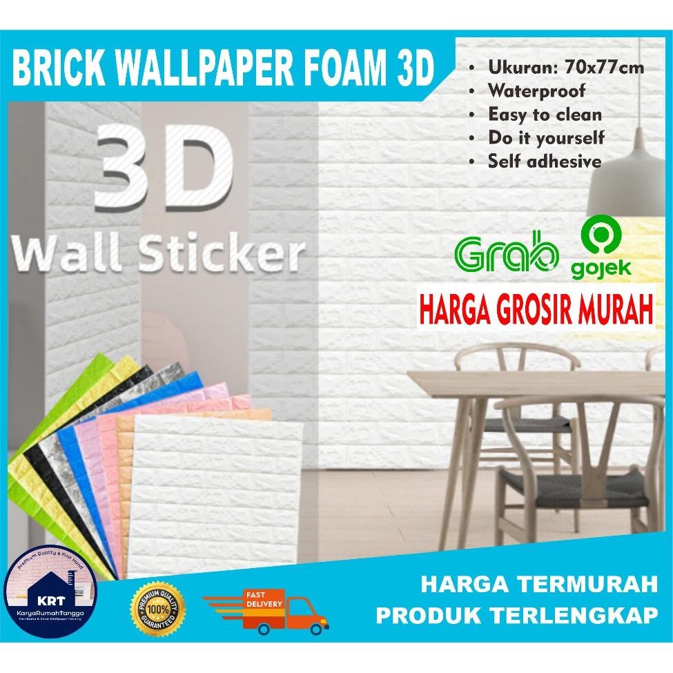 Pusat Wallpaper Foam 3D Brick Emboss Bata Alam Putih