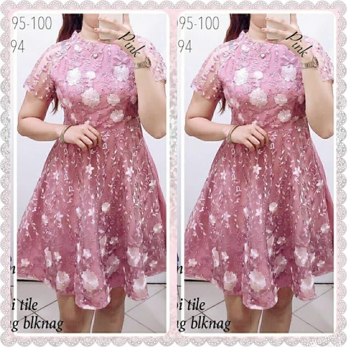 Dress Wanita Korea Stylish Cantik Korean Fashion Dress Serut Dress Party Tile Bordir Merah 44iya Shopee Indonesia