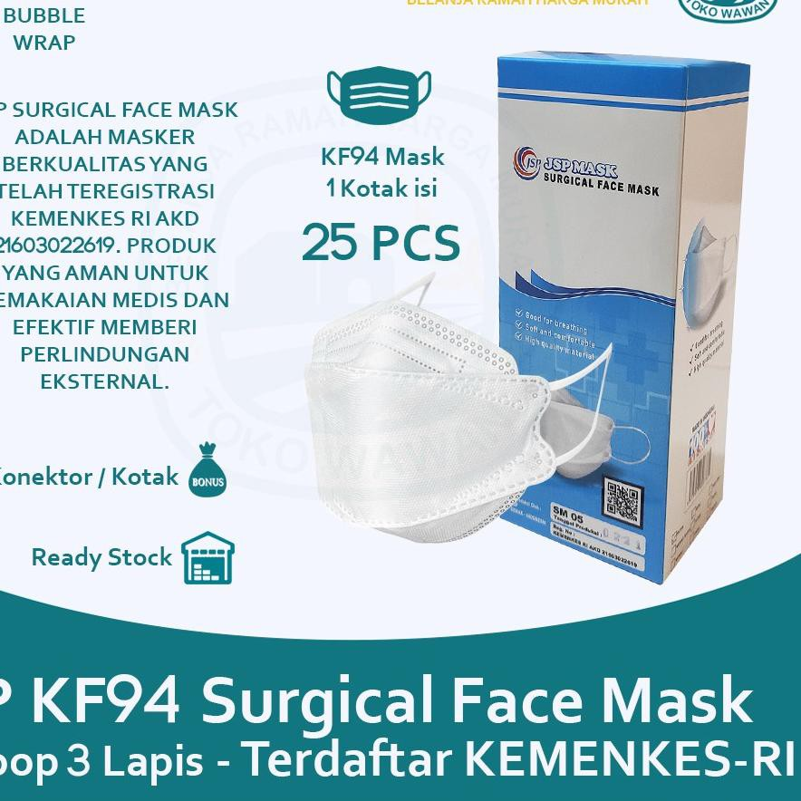4.4 Flash Sale Masker Medis JSP KF94 KN95 3 Ply Surgical Mask Kemenkes / 1 Box isi 25 PCS / Model Co