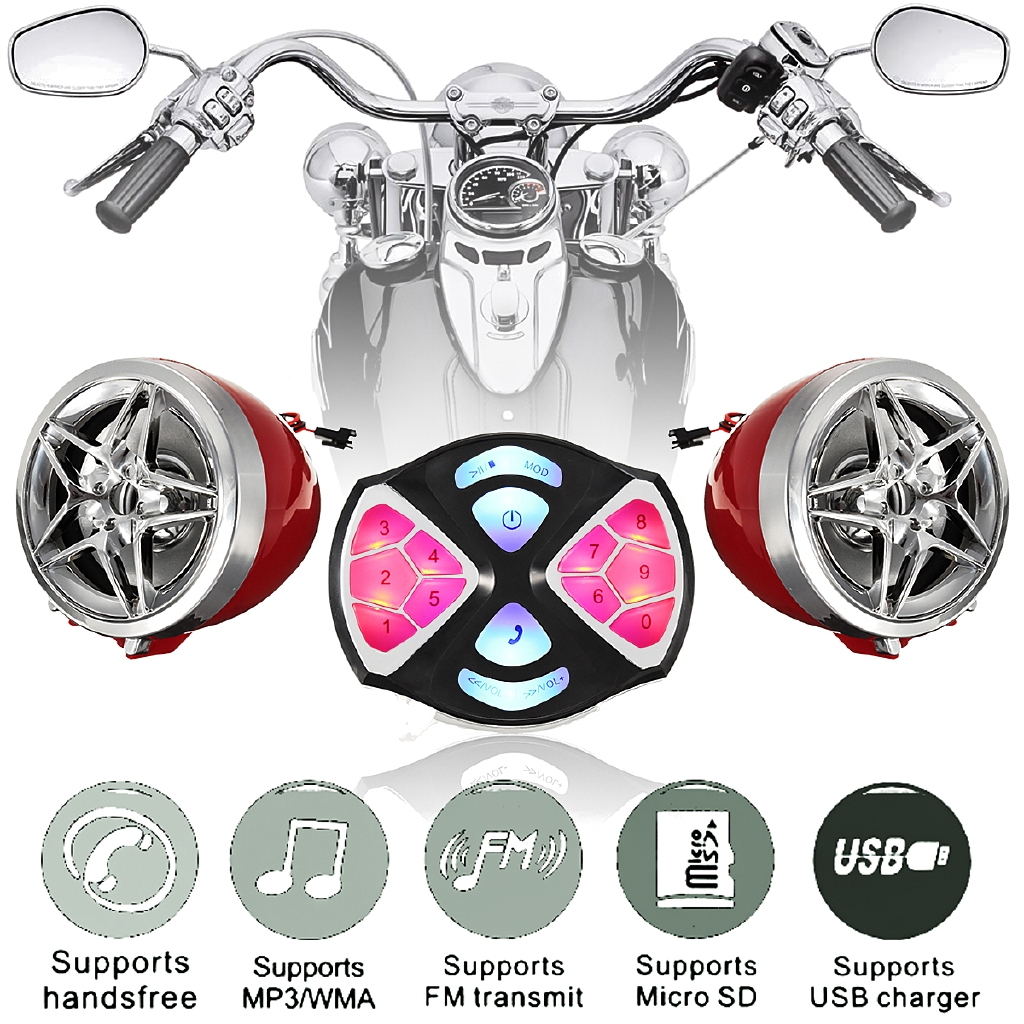 Motorcycle Handlebar MP3 Balck Speakers Audio System USB SD FM with Bluetooth