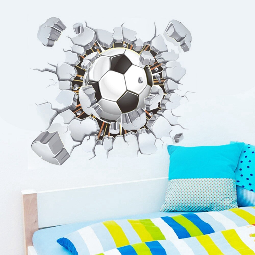 Soccer Football Cracked 3d View Decorative Wall Stickers For Kids Room Decorations Pvc Decor Mural Shopee Indonesia