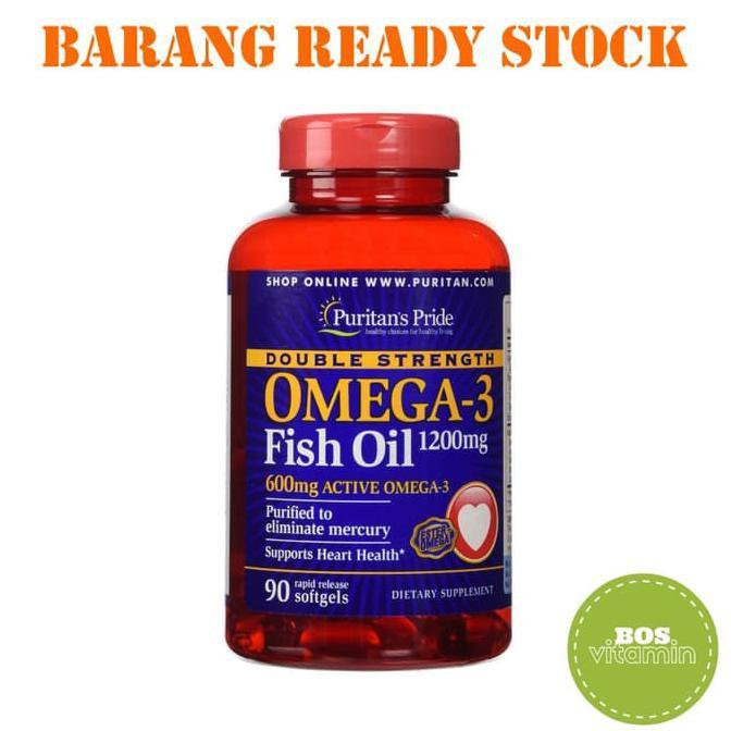 VIP - Puritan's Pride Double Strength Omega 3 Fish Oil 1200 mg 90 Softgel   Shopee
