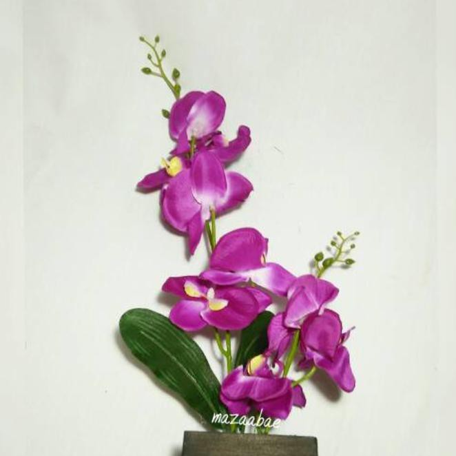 New Bunga Anggrek Besar Artificial Dan Vas Kayu Cantik Shopee Indonesia