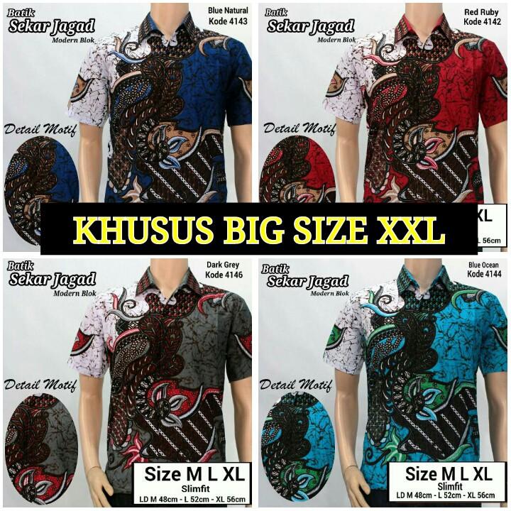 Model Baju Batik Ukuran Jumbo XXL Baju Batik Besar Kemeja Batik size jumbo  sekar  215aeee5bb